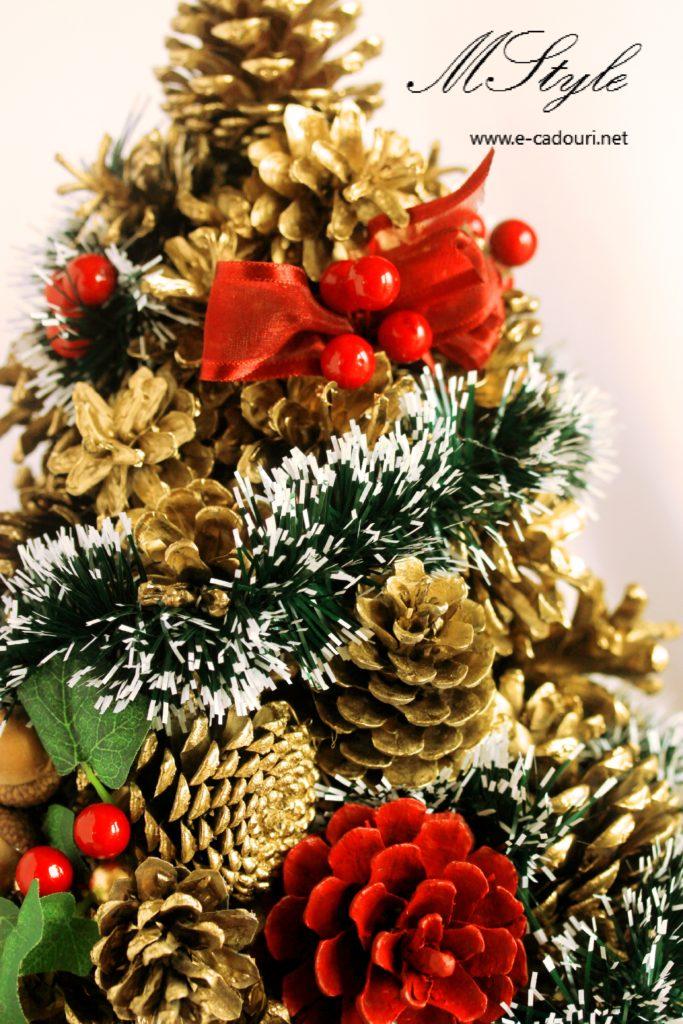 Alternativă brad Crăciun- Brăduţ conuri aurii 50 cm 2
