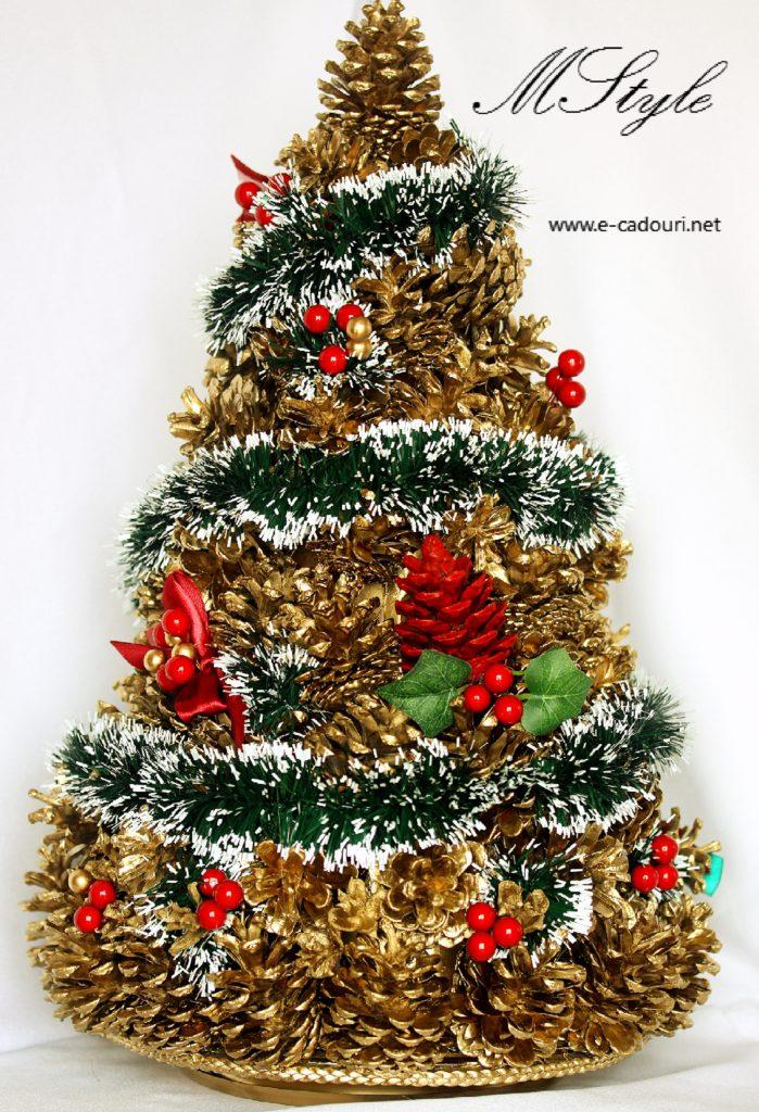 Alternativă brad Crăciun- Brăduţ conuri aurii 50 cm 1