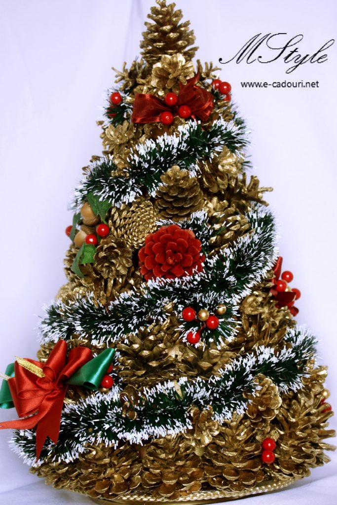 Alternativă brad Crăciun- Brăduţ conuri aurii