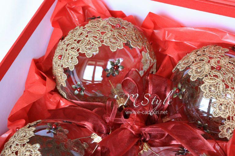 Glob Crăciun sticlă cu dantelă, 10 cm 1