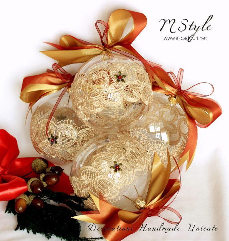 Glob Crăciun sticlă dantelă fină, 10 cm 2