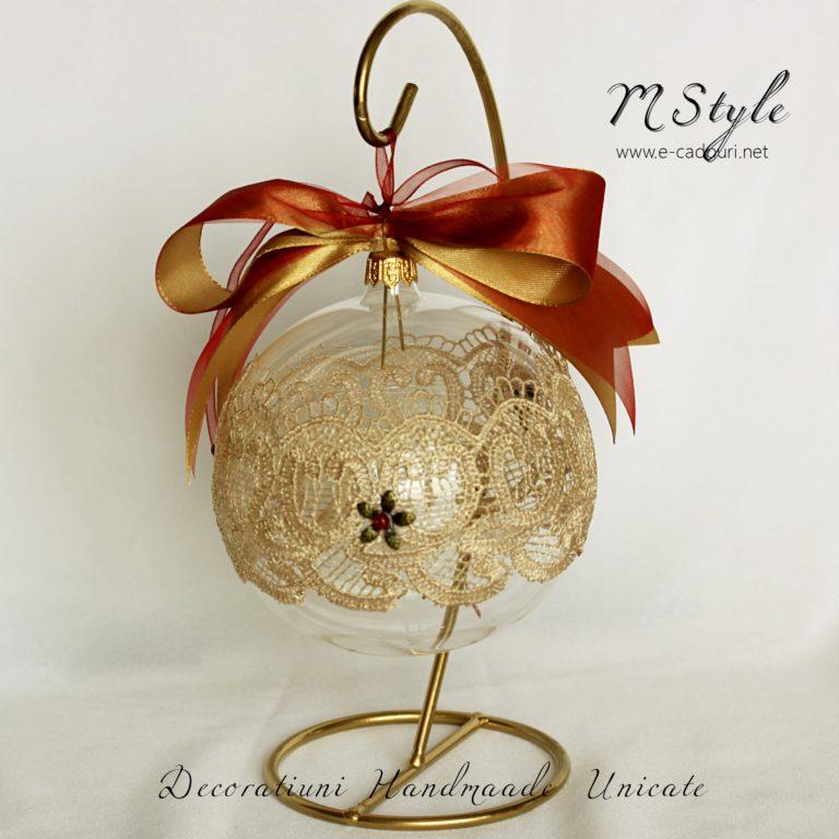 Glob Crăciun sticlă dantelă fină, 10 cm 1