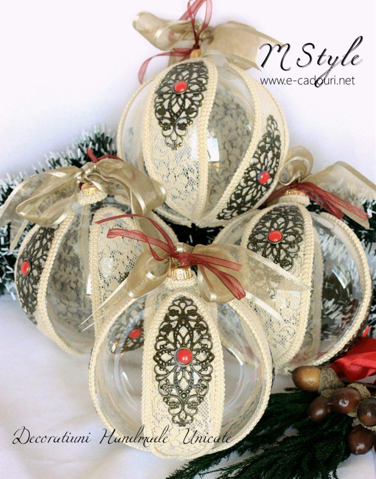 Glob Crăciun macrame, dantelă, filigran, 10 cm 1