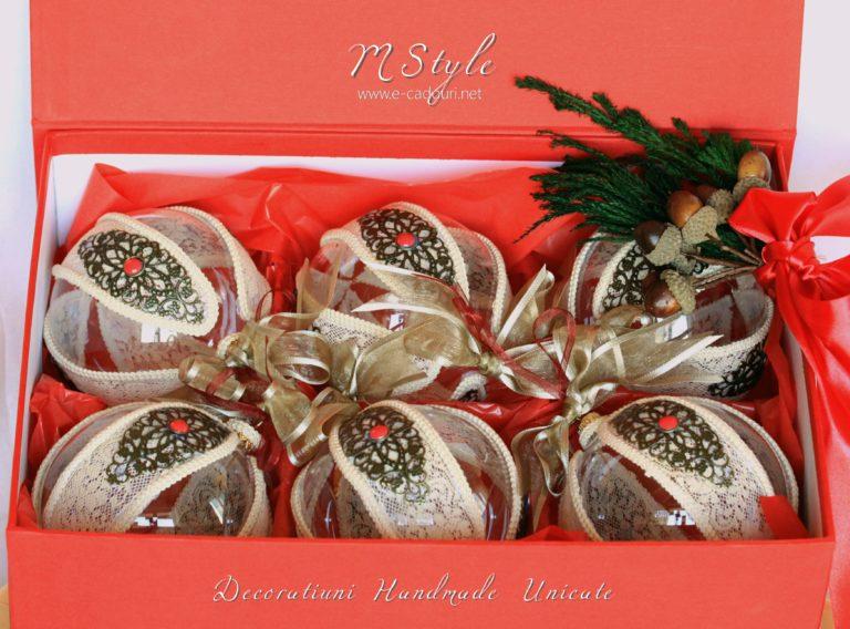 Glob Crăciun macrame, dantelă, filigran, 10 cm 2