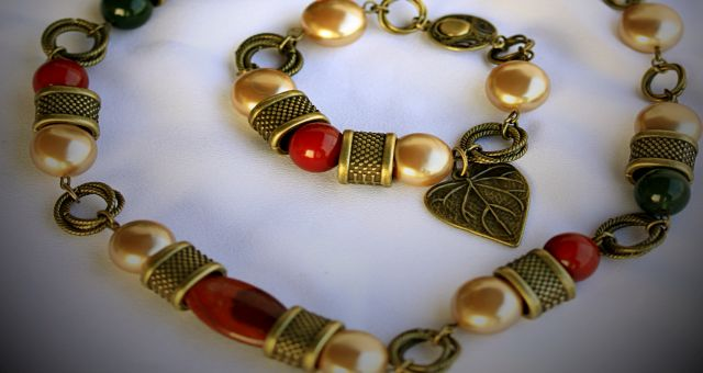 set perle si bronz
