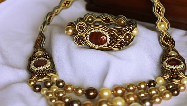 set soutache jasper pearls