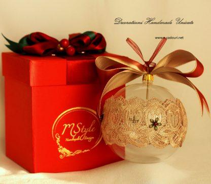Glob Crăciun sticlă dantelă fină, 10 cm 3