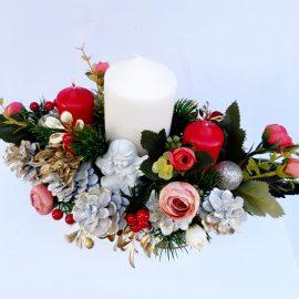 Aranjament decorativ Crăciun 3 lumânari