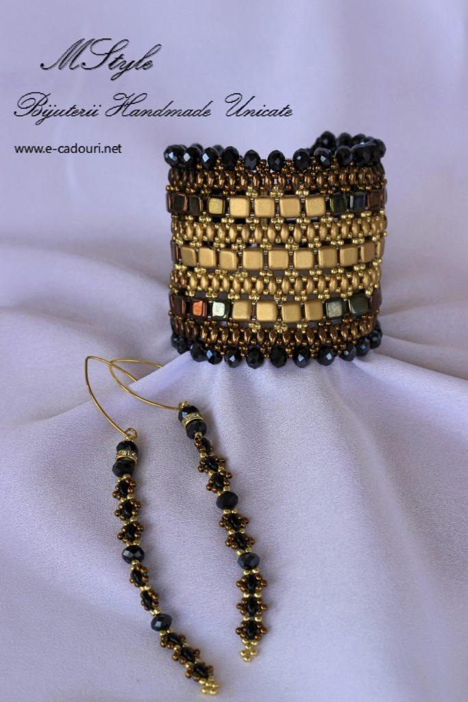 Brăţară lată negru cu auriu şi cercei lungi 4