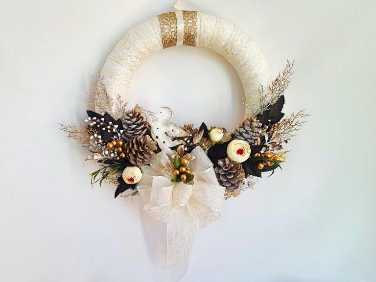 """Coroniță decor """"White Golden Christmas"""" 35 cm"""