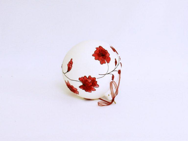 Glob sticlă Crăciun Alb cu flori roșii 10 cm