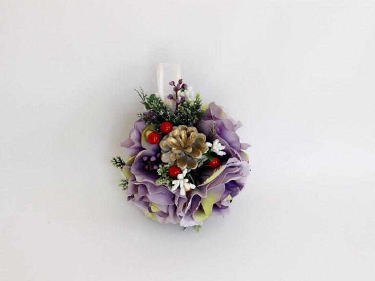 Decor Crăciun Glob mare flori lila