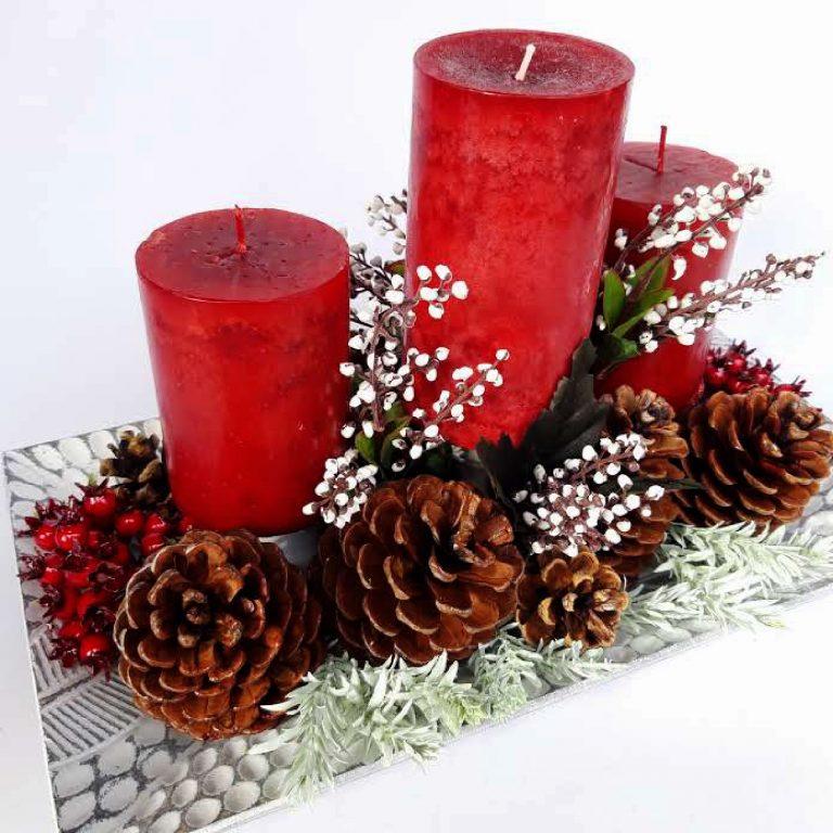 Aranjament masă Crăciun 3 lumânări
