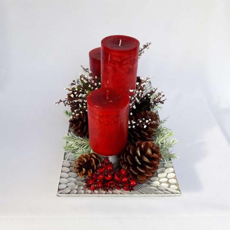 Aranjament masă Crăciun 3 lumânări 1