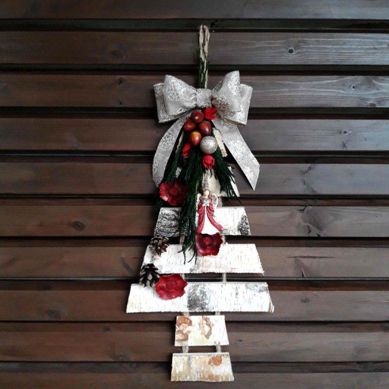 Brăduţ scoarţă copac decorat Crăciun, 55cm