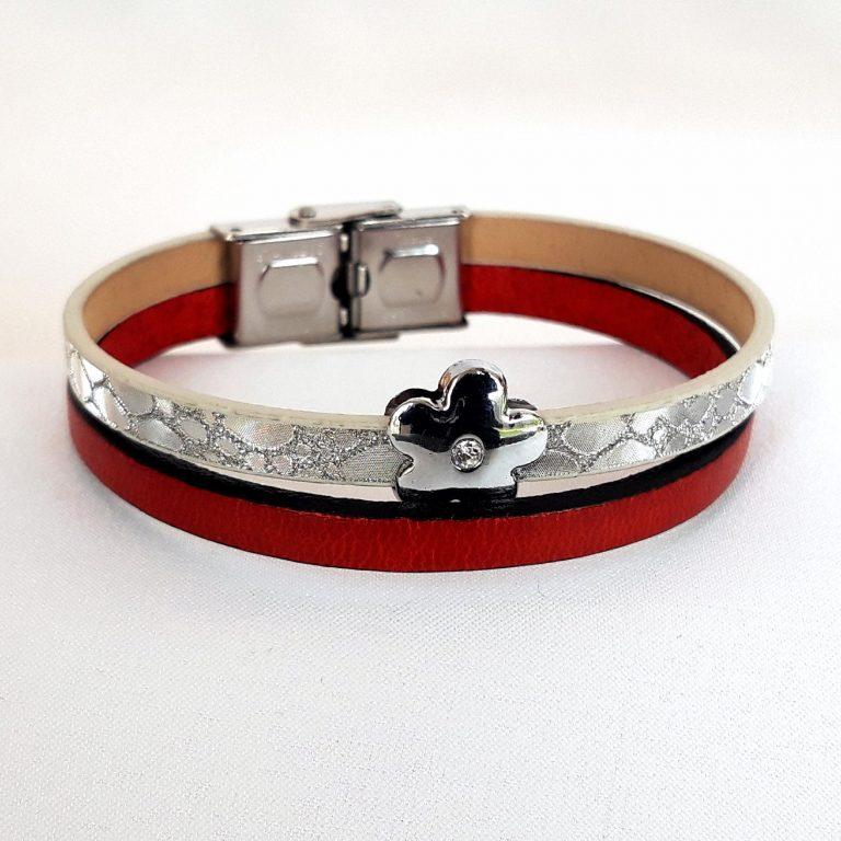 Brăţara roşu cu argintiu floare inox