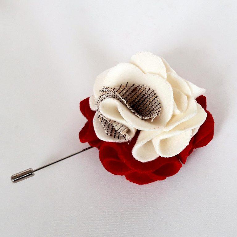 Mărţişor Broşă pin floare alb/roşu