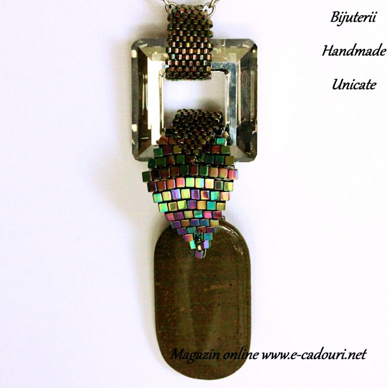 Colier Swarovski square ring crystal