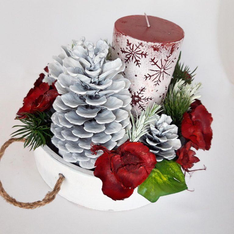 Coş alb cu lumânare decor Crăciun, 20cm
