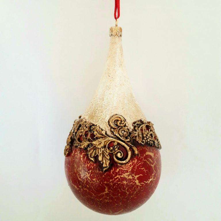 Glob Crăciun baroque roşu auriu 18 cm