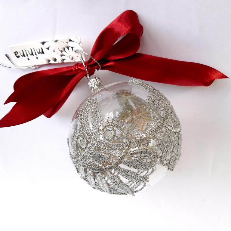 5 Cutii cadou 1glob sticlă dantelă argintie 2