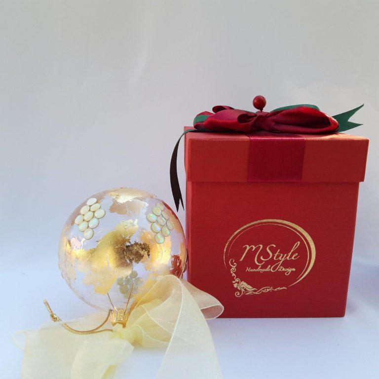 Glob Crăciun sticlă 10 cm ivoire