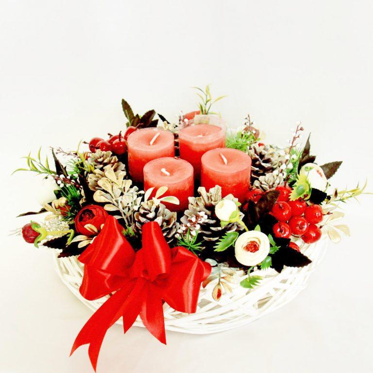 """Decor 4 lumânări """"White& Red Christmas"""""""