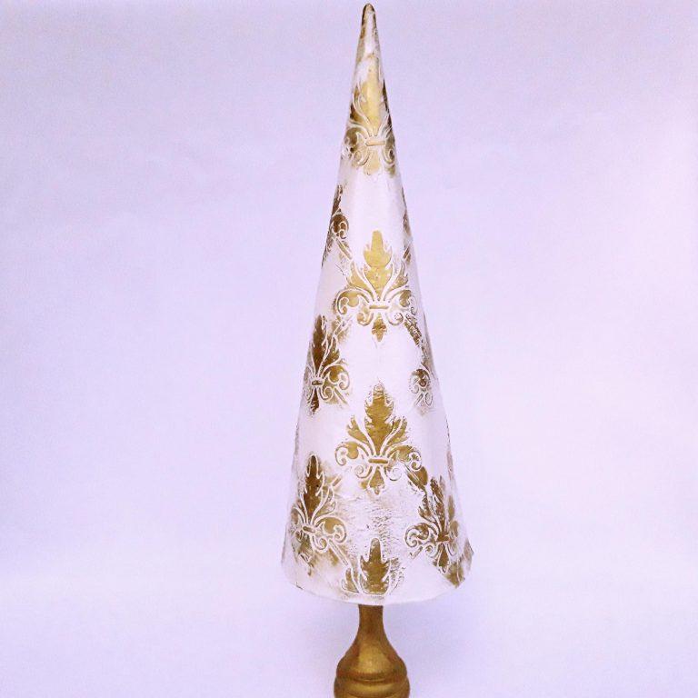 Brăduţ decor Crăciun alb auriu, 30cm