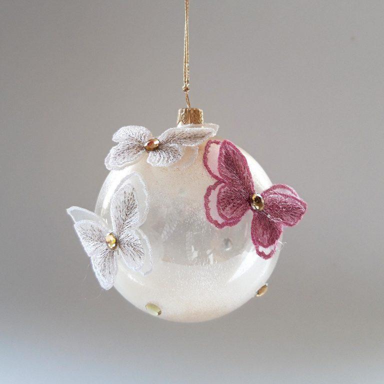 Glob sticlă 10cm Fluturi dantelă