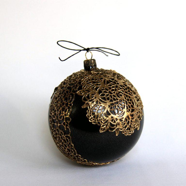 Glob Crăciun negru auriu, sticlă 10 cm