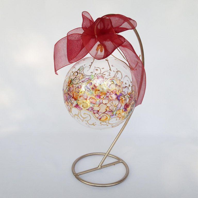Glob Crăciun curcubeu sticla 10 cm