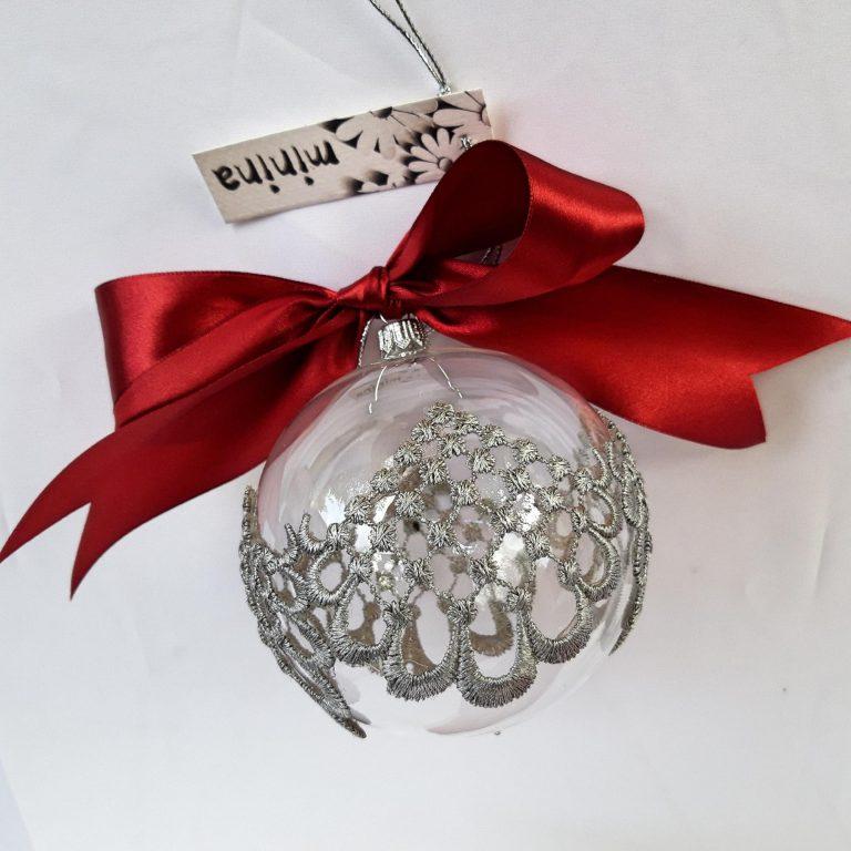 5 Cutii cadou 1glob sticlă dantelă argintie 1