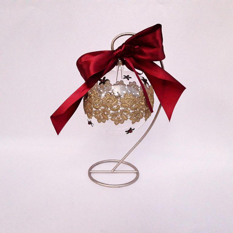 Glob Crăciun sticlă cu dantelă, 10 cm stativ metalic