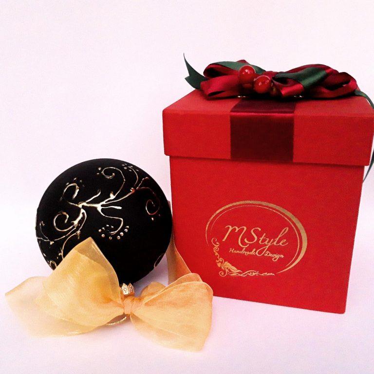 Glob negru cu auriu sticlă 10 cm in cutie cadou