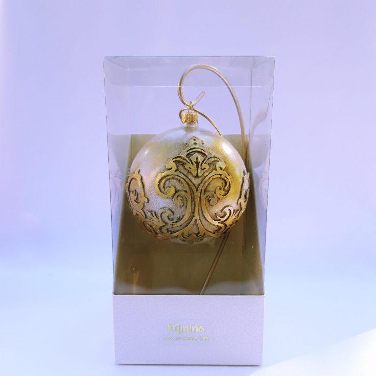 Glob Crăciun sticlă auriu patinat 10 cm 1
