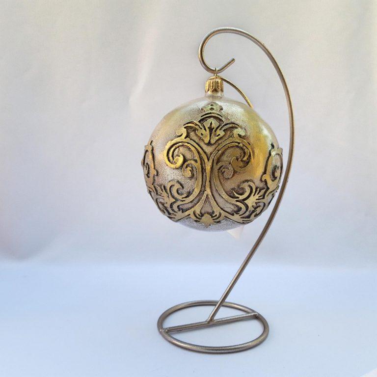 Glob Crăciun sticlă auriu patinat 10 cm
