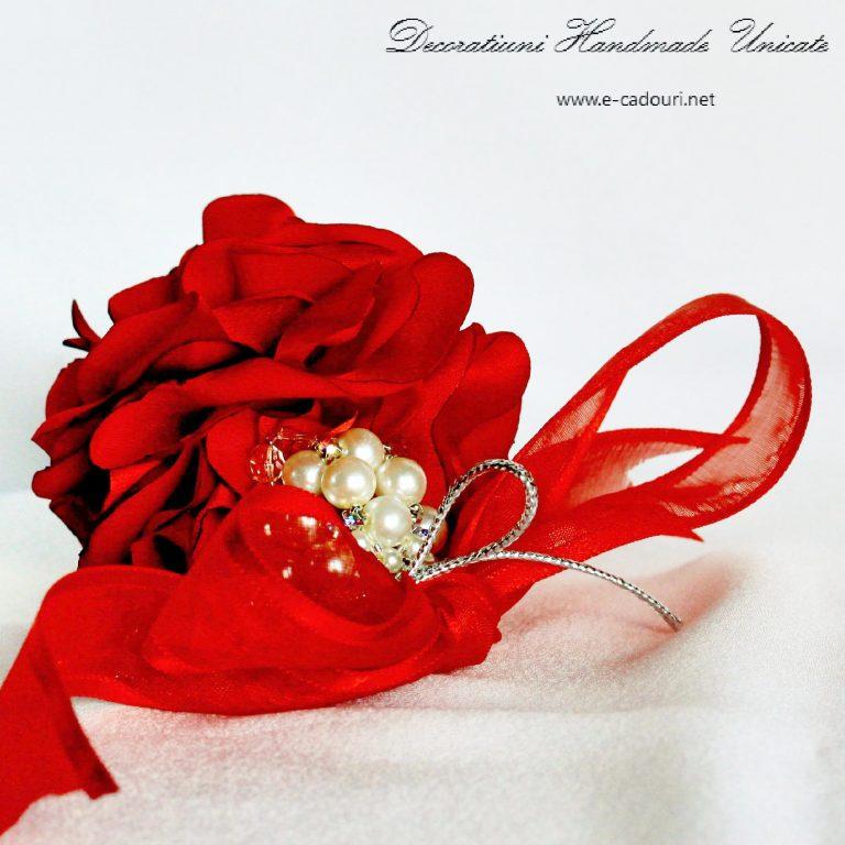 Ornament Crăciun - flori şi perle- 8 cm