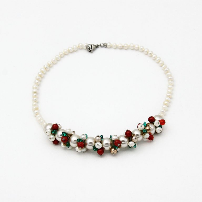 Colier fantezie perle alb și roșu