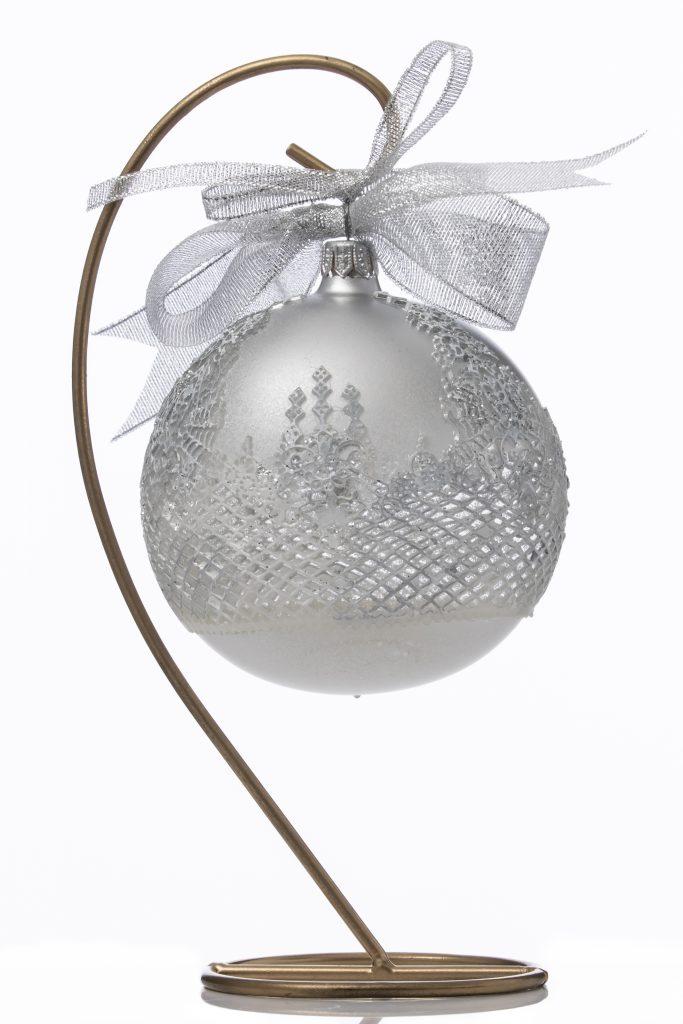Glob Crăciun argintiu 10 cm 2