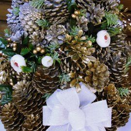 Brad alb Crăciun din conuri, 75 cm