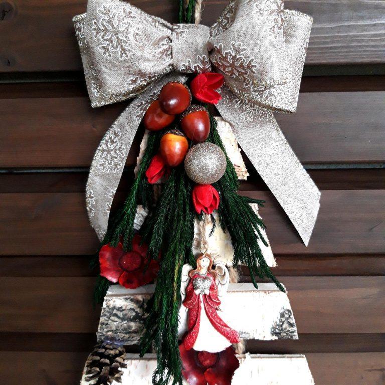 Brăduţ scoarţă copac decorat Crăciun, 55cm detaliu