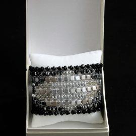 Bratara lata negru-argintiu