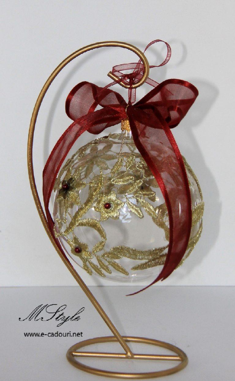 Glob sticlă cu flori dantelă 10 cm 3