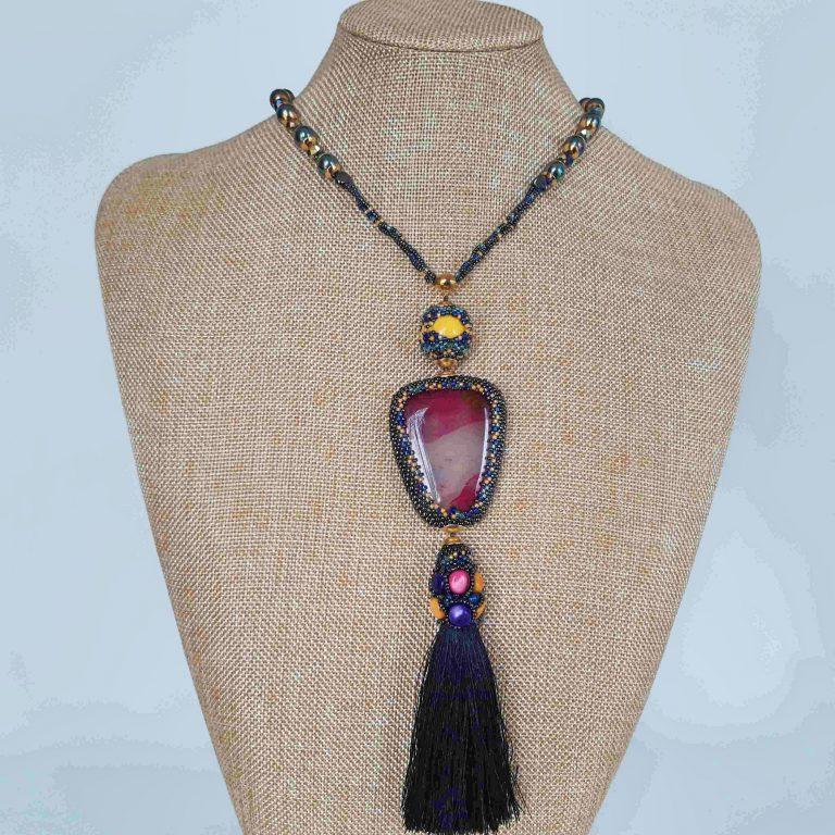 Colier agata sidef și perle cu țesătură peyote