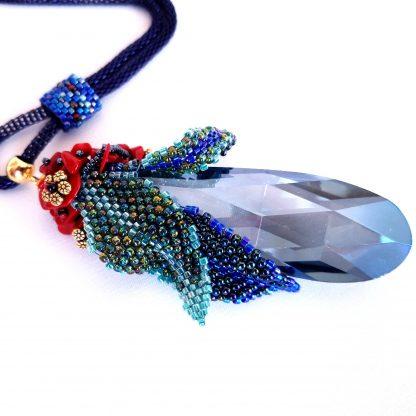 Colier cristal sticla albastru