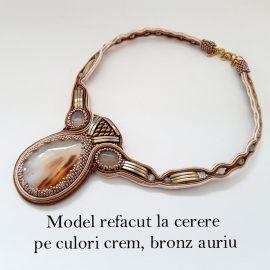 Colier soutache agata bronz auriu1