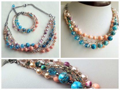 Colier si bratara multisir perle , agate, cristale 1