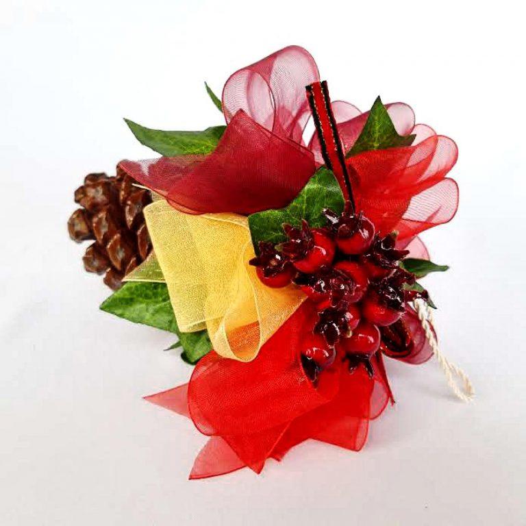 Con pin, decorat Crăciun, 15cm
