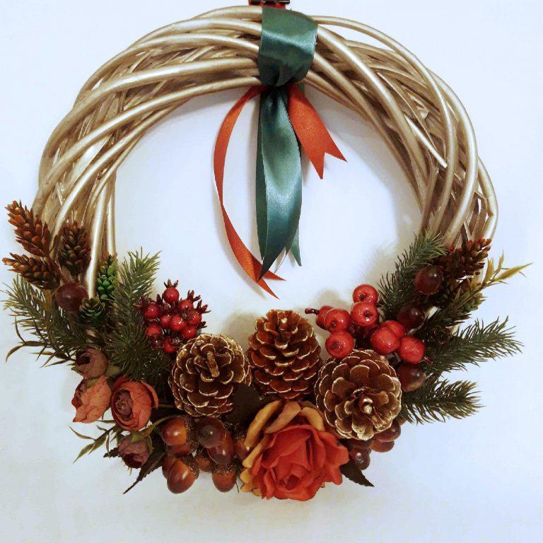 Coroniță Crăciun cu ghinde 30 cm