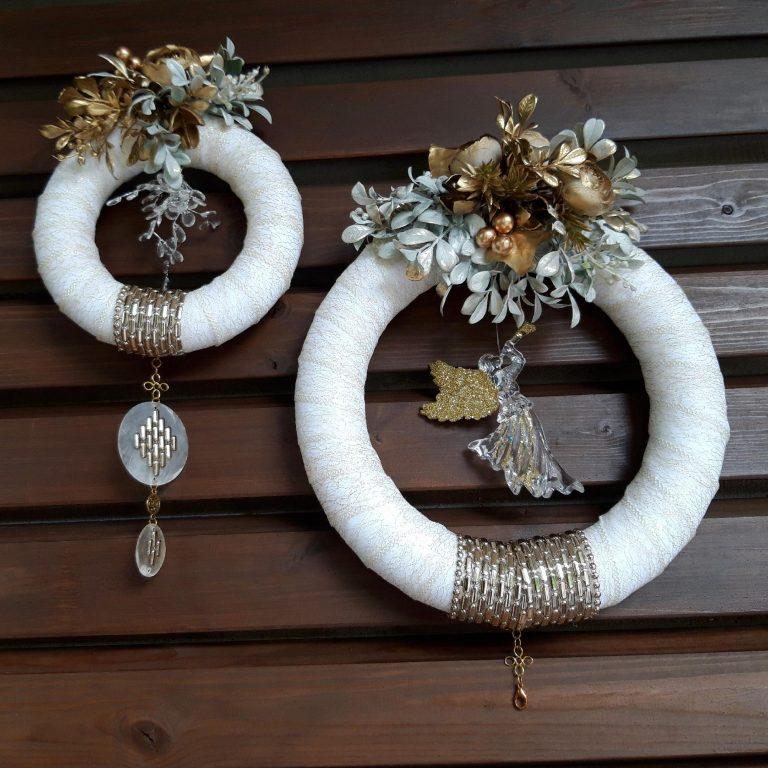 Coroniţă dublă alb cu auriu